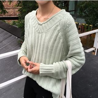 Ribbed V-Neck Sweater 1062126991