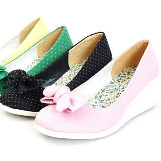 Buy KAWO Bow-Accent Dotted Canvas Wedges 1022774945