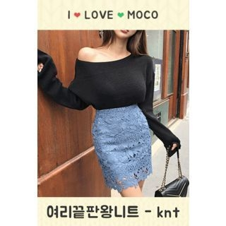 Boat-Neck Knit Top 1062193559