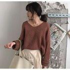 V-Neck Rib Knit Sweater 1596