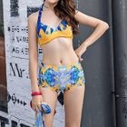 Set Of 3: Printed Cover-Up + Bikini Top + Swim Shorts 1596