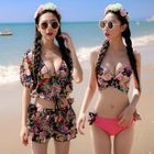 Set: Printed Bikini + Top + Layered Skirt 1596