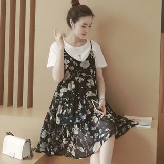Short-sleeve | Maternity | Chiffon | T-Shirt | Floral | Dress | Print