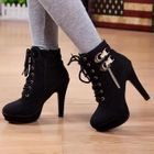 Buckled Lace-Up Ankle Boots 1596
