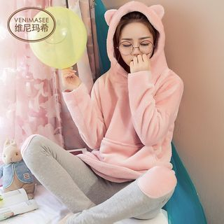 Set: Fleece Hoodie + Color Applique Leggings 1058493120