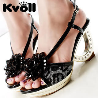 Buy Kvoll Beaded Platform Rhinestone Heel Sandals 1022905621