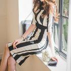 Short-Sleeve Striped Cutout Dress 1596