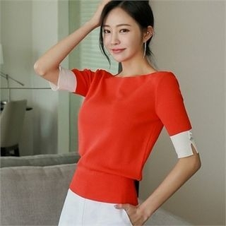 Boat-Neck Contrast-Sleeve Knit Top 1066649504