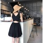 Cut Out Back Sleeveless A-Line Dress 1596
