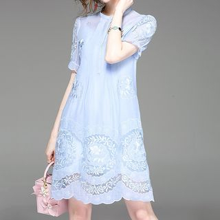 Set: Floral Embroidered Short-Sleeve A-Line Dress + Strappy Dress 1060387786