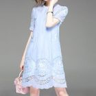 Set: Floral Embroidered Short-Sleeve A-Line Dress + Strappy Dress 1596