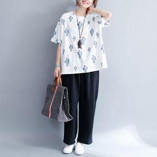 Image of Cactus Print Short-Sleeve T-Shirt White - One Size