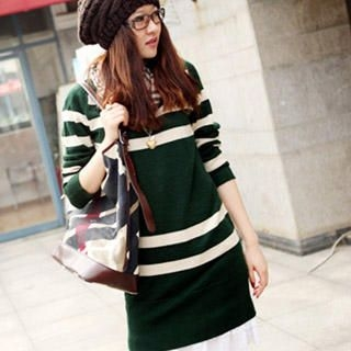Buy Ando Store Long-Sleeve Striped Knit Dress 1021589805