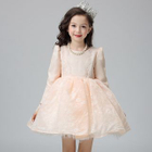 Kids Lace Trim Bow Accent Long Sleeve Dress 1596