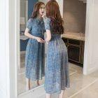 Short-Sleeve Floral Midi Chiffon Dress 1596
