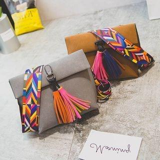 Pattern Strap Crossbody Bag with Tassel