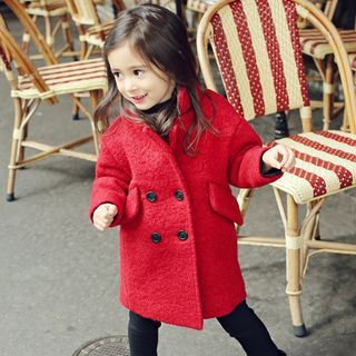 Image of Kids Double-breasted Fleece-lined Coat