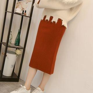 Midi Rib Knit Skirt 1063900542