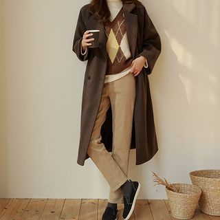Double-breasted Woolen Long Coat With Sash