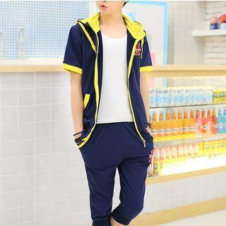 Set: Short-Sleeve Hooded Jacket + Cropped Sweatpants 1050870431