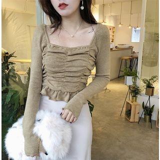 Frill Trim Cropped Long Sleeve T-Shirt 1065298618