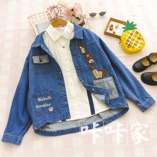 Image of Bear Embroidered Cropped Denim Jacket Denim Blue - One Size
