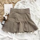 Ruffle-Hem Plaid Mini Skirt 1596