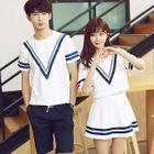 Couple Matching Short-Sleeve T-Shirt / Set: Short-Sleeve T-Shirt + A-line Skirt 1596