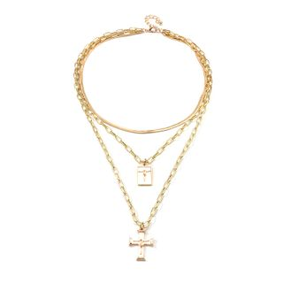 Image of Cross Layered Chain Necklace Gold - One Size