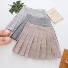 Pleated Check Mini Skirt 1596