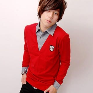 """Buy SLOWTOWN Inset Shirt """"Badge"""" V-Neck Top 1023012285"""