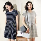 Short-Sleeve Drawstring Striped Dress 1596