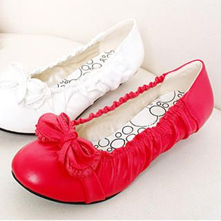 Picture of KAWO Bow-Accent Ruched Flats 1022919243 (Flat Shoes, KAWO Shoes, China Shoes, Womens Shoes, Womens Flat Shoes)