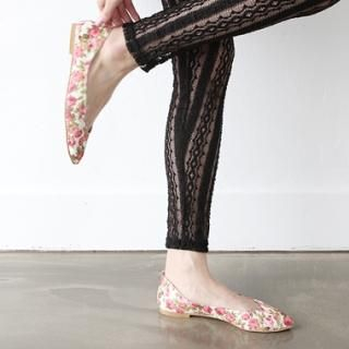 Picture of HARU Flower-Print Canvas Flats 1022730002 (Flat Shoes, HARU Shoes, Korea Shoes, Womens Shoes, Womens Flat Shoes)