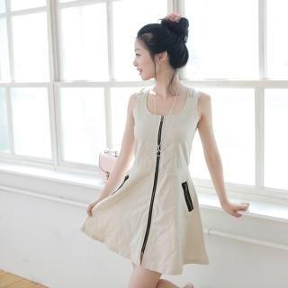 Buy NamuDDalgi Zip-Front Sleeveless A-Line Dress 1023041553