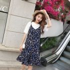 Set: Short-Sleeve T-Shirt + Floral Print Spaghetti Strap Chiffon Dress 1596