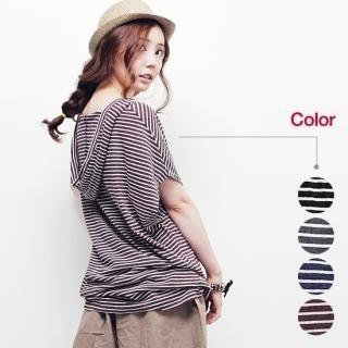 Picture of Beccgirl Hooded Stripe Short-Sleeve Top 1022976919 (Beccgirl Dresses, Womens Dresses, South Korea Dresses, Long-Sleeve Dresses, Hooded Dresses)