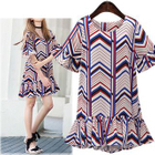 Chevron Frilled Short-Sleeve Dress 1596