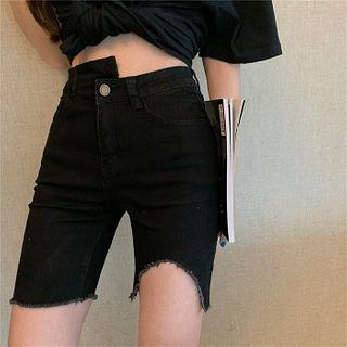 Image of Asymmetric High-Waist Frayed Denim Shorts