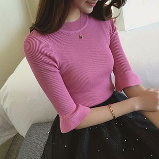 Rib Knit Elbow Sleeve Sweater 1049305315