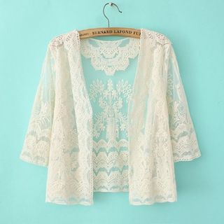 Lace Cropped 3/4 Sleeve Cardigan 1057826946