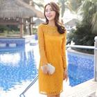Long-Sleeve Lace Dress 1596