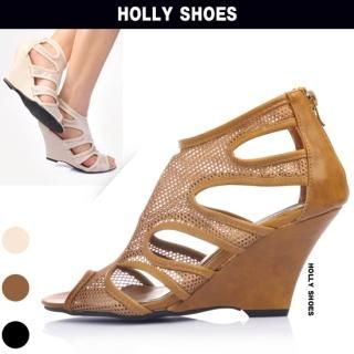 Buy Holly Shoes Side-Open Mesh Wedge Pumps 1022489020
