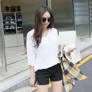 V-Neck Elbow-Sleeve T-Shirt 1051415848