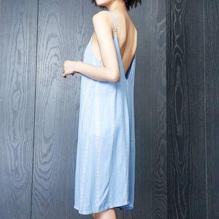 Spaghetti | Pajama | Strap | Light | Dress | Open | Back | Blue | Size | One
