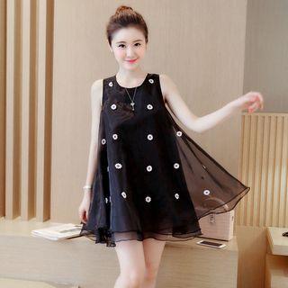 Sleeveless Applique Tulle Dress 1051644879