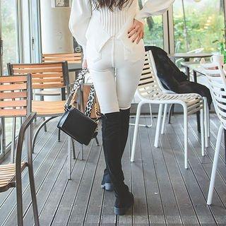 Hidden Band-Waist Fleece Lined Skinny Pants 1063276973