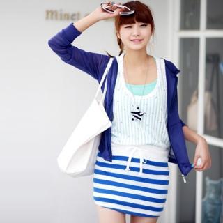 Buy SDKING Striped Mini Skirt 1022933703