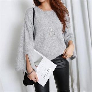 Wide-Sleeve Slit-Detail Wool Blend Knit Top 1056603140