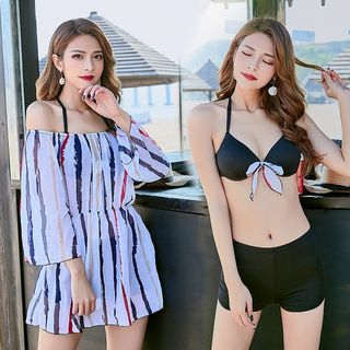Set: Bow-Accent Bikini + Stripe Beach Cover 1064838903